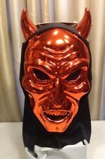 Red Devil Mask Metallic Demon Halloween Accessory Adult Teen Full Head Cover