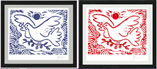 "2 Picasso Ltd Ed Prints ""Blue, Red, Dove of Peace"" Hand-Signed w/COA unframed"