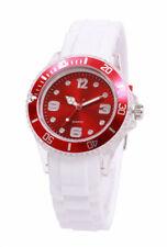 Silikon Armbanduhr Damen Kult Trend Gummi Watch Weiß / Rot ( F1 )