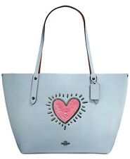 NWT COACH Keith Haring Sequins Pink Heart Market Tote Ice Blue 28645 MSRP $395