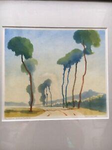 "LAWRENCE BELL ""The Avenue. Château-Gaillard"" Signed Linocut"