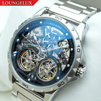Mens Double Flywheel Automatic Mechanical Watch Stainless Steel Silver Chrome