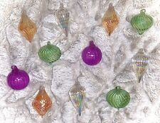"Kurt Adler 11 TRANSPARENT COLORED GLASS Christmas Tree 2.5"" -3"" ORNAMENTS"