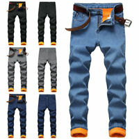 Winter Warm Men's Denim Pants Jeans Fleece Lined Stretch Thick Straight Trousers