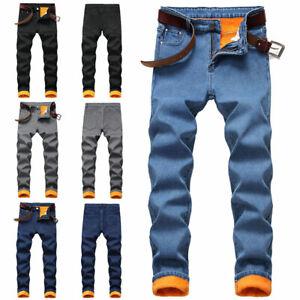 Kids Boys Jeans Denim Winter Fleeced Pants Warm Trousers Casual Loose Trousers