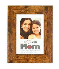I Love Mom Frame, Dark Walnut Brown 5x7 Picture Frame For 4x4 Photo - Vertical