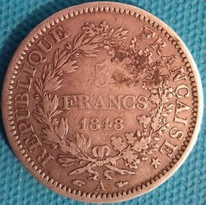 MONNAIE EN ARGENT - 5 FRANCS HERCULE 1848 A - Ref : 00081