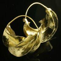 "MEDIUM  Fulani brass hoop earrings ""kwotene kange"" Peul. African (1 1/4"" wide)"