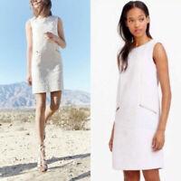 J Crew Size Small Dress Lilac Jacquard Zip Pocket Shift Sleeveless