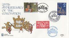 (99620) GB Cameo FDC Coronation 25/40 ans double datée du 1993 sans insert