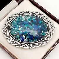 Vintage Blue Green Glass Fire Opal LARGE Pewter Celtic Scottish Brooch Pin