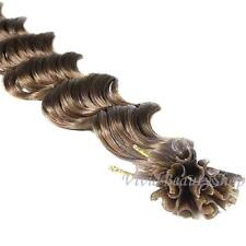 100 U Nail Tip Fusion Deep Wave Curly Remy Human Hair Extensions Light Brown #8