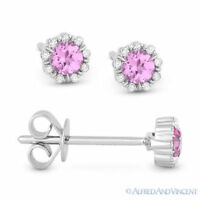 0.36 ct Round Pink Lab-Sapphire & Diamond Pave Baby 14k White Gold Stud Earrings