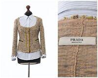 Women's PRADA Round Neck Blazer Coat Jacket Knitted Cotton Wool Linen Beige