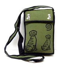Cotton Dog Stamp Print Purse Horn Button Green Fair Trade Made in Nepal New