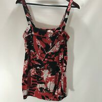 MNG Top Sleeveless Cami. Blouse Size M Medium Red Print Stretch