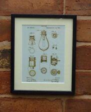 USA Patent vintage ELECTRIC LIGHT EDISON LAMP BASE MOUNTED PRINT 1890 Gift