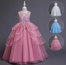 Childrens Kids Girls Elegant Formal Ruffled Flower Embroidered Dress Ball Gown