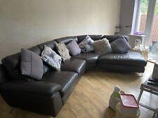 Brown Leather Corner Sofa Suite