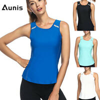 Aunis Women Seamless Tank Top Racerback Stretch Shirt Sleeveless Tee Sports Yoga