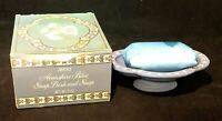 Avon Avonshire Pedestal Blue Soap Dish and Soap new in box Ceramic Vintage Bath