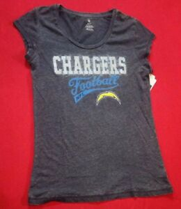 NWT NFL LOS ANGELES CHARGERS SCOOP NECK DISTRESSED SHIRT WOMEN'S SZ L 11/13