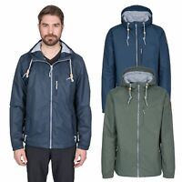 Trespass Anchorage Mens Waterproof Jacket Navy & Green Rain Coat With Hood