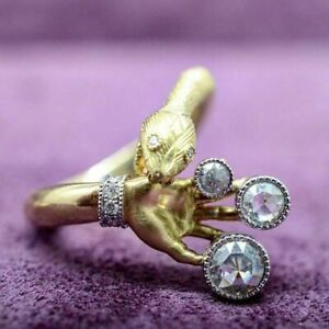 Exquisite 18k Gold White Sapphire Snake Ring Women Wedding Fine Jewelry Size 7