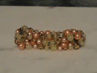 Costume Cosmetic Bracelet Green and Peach Stretch