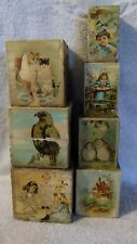 Turn of the Century Nesting 7 ABC Picture Blocks Paper Lithograph prints on Wood