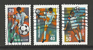 Scott #2834-36 Used Set of 3, World Cup Soccer Players