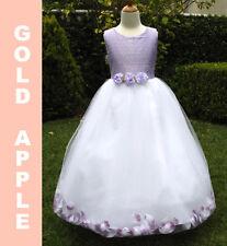 Girl Silk Petal Princess Dress,Party, Recital ,Lilac/White Size: 9/10 (9-10 yr)