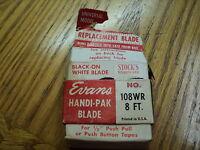 "Vintage Evans Replacement White Tape Rule Blade Tool - 1/2"" X 8' - NIB"