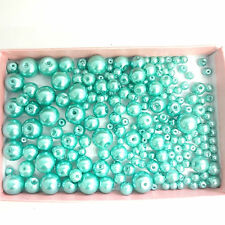 200 Assorted Sizes 4mm 6mm 8mm 10mm Glass Pearl Beads Turquoise
