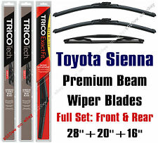 Toyota Sienna 2011+ Wiper Blades 3-Pack Full Set Front & Rear - 19280/200/16A