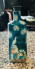 Fun Hand Painted Turtle Bottle~Clay Top~10 3/4� Tall~Signed Quito~Ecuador?