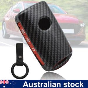 For Mazda 3 Alexa CX4 CX5 CX8 3 Button Carbon Fiber Car Key Shell Cover Fob