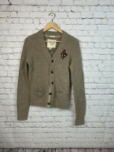 Abercrombie & Fitch College Letterman Cardigan Logo Sweater Muscle Medium Tan