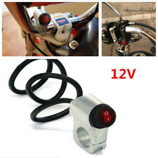 "12V Red LED Motorcycle Aluminium Alloy 7/8"" Handlebar Headlight Switch &3 Wires"