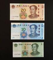 China 1 + 10 + 20 Yuan 2019 Set of 3 Banknotes 3 PCS UNC