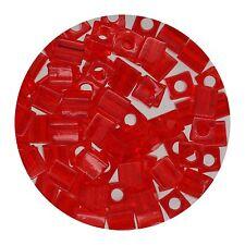 Square Glass Beads Japan 4mm Miyuki Cube Transparent Red