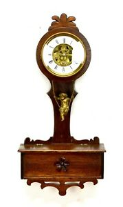 1870 French Antique Swinging Brass Cherub Pendulum Porcelain Dial Oak Wall Clock