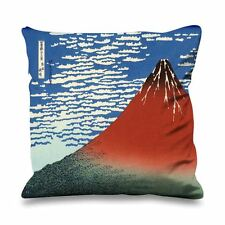 Hokusai mont fuji en temps clair rouge fausse soie 45cm x 45cm canapé coussin