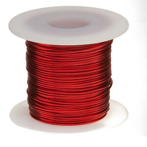 "18 AWG Gauge Enameled Copper Magnet Wire 1.0 lbs 201' Length 0.0415"" 155C Red"