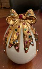 Authentic Italian Capodimonte Polaris, Egg with Bow and Swarovski Crystals