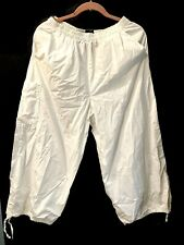 OSKA Cotton White Lagenlook Balloon Trousers Size 2 10/12 Elastic Waist Tie Hem