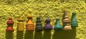 LOT OF 8 VINTAGE MONOPOLY WOOD MOVE PIECES AS PICTURED