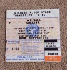 1990-91 WALSALL V CHELSEA LEAGUE CUP 2ND ROUND TICKET