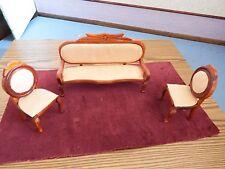 Doll House Furniture vintage divano e 2 poltrone 1.12th