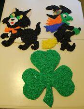 Vintage Melted Popcorn Shamrock, Cat , Witch Lot of 3 St Patricks & Halloween